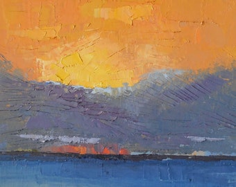 Abstract Seascape, Textured Abstract Painting, 14x18 Palette Knife Painting, Free Shipping in USA