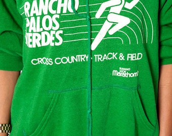 The Vintage 50/50 Green Rancho Palos Verdes Cross Country Track and Field 1980s Marathon Hoodie Sweatshirt