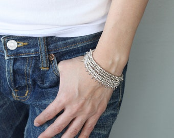 Water Drop Layer Silver Bracelets Multi Strand