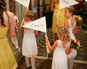 Set of 3 Wedding Signs Here // Comes // The Bride Wedding Flag Package Set of 3 Large Wedding Signs Ring Bearers Flower Girls Script 1111 LW
