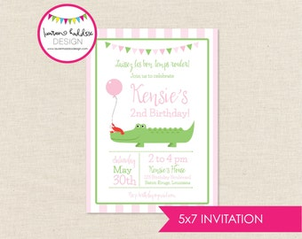 Alligator Birthday, Crawfish Birthday Invitation, Alligator Printables, Crawfish Birthday Decorations, Lauren Haddox Designs