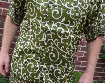 Men's Handmade Woven Sari Silk Button Down Pocket Shirt - Olive Green Ivory Swirls - Kyler I895