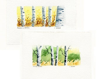 Two Original Hand Painted Landscape Art Cards - Aspens and Birches