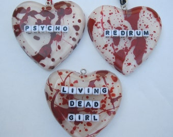 Bloody Heart Necklace Choice of Saying REDRUM Psycho Scream Queen