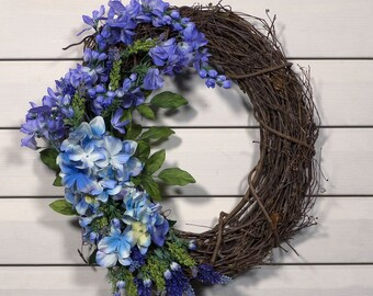 Blue and Purple Spring Wreath