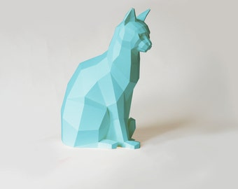 Sitting Cat Papercraft Kit, many colors available