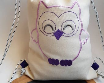 Backpack style tote bag for kindergarten - toy bag - my little OWL