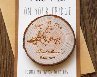 Custom birds on brunch Wood Save the date Magnets, rustic wedding favors, Rustic wedding Magnets,Rustic Wedding Magnet
