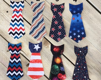 4th Fourth of July Iron On Ties DIY Appliqué Flag