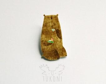 Bear gourmet hand painted brooch, bear brooch, bear with mushroom, tea brooch, animal brooch, bear jewelry, russula, Animal pin, brooch pin