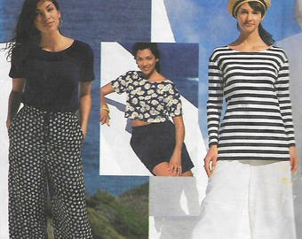 Simplicity 8977 Easy Basics Pattern, Misses Wide Leg Pants Or Shorts And Tops In Two Lengths, Size XS-S-M, UNCUT