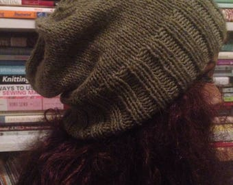Heather Green Slouchy Knit Hat Slouch Tam Beanie