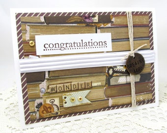 Congratulations Card - Mixed Media Card - Book Theme Card - Vintage Style Card - Brown and White - Metal Embellishment - Rustic Style Card