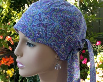 Cancer Hat Soft Chemo Hair Loss Hat Cotton Cap Purple Hat Reversible  Small/Medium