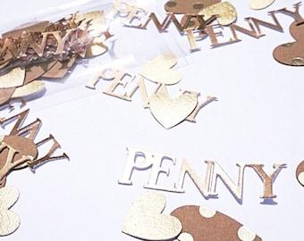 Custom gold name confetti.  Gold party confetti.   Gold party decorations.   Gold birthday confetti.   Heart confetti.   Gold name confetti