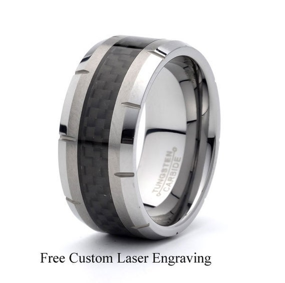 Mens Tungsten Wedding Band Carbon Fiber Inlay 10mm Beveled Edges Grooved  Polish Brushed Ring Custom Tungsten Bands Mens Womenu0027s Rings