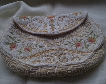 Sale White Beads and Forgotten Stitch Purse