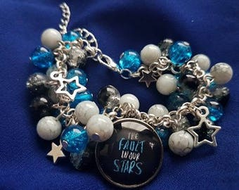 Unique The Fault in Our Stars -inspired Gift | Loaded Statement Glass Bead Charm Bracelet with 20mm Glass Pendant | Made in Scotland | TFIOS