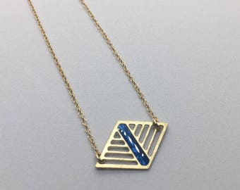 Navy and Gold Geometric Laser Cut Diamond Necklace Delicate Minimal Jewelry