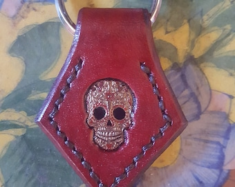 Sugar Skull Leather Key Fob, Handpainted