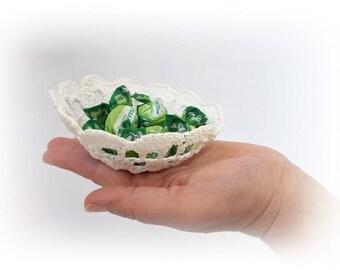 Vintage White Lace Bowl, Photo Prop Basket, Prop Blasket, crochet basket, lace bowl, home decor, Crochet Doily Bowl, Wedding Decoration