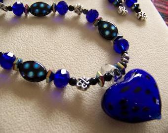 Heart Pendant Necklace Set,Ultra violet jewelry,Cobalt Beaded Necklace Set, Valentine's Day Jewelry. Polka Dot jewelry,#87