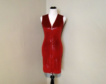 Faux Snakeskin Dress, Vintage Sleeveless Red Stretchy Snakeskin Fabric Dress or Tunic by Cache with Full Rhinestone Zipper, Vintage Small