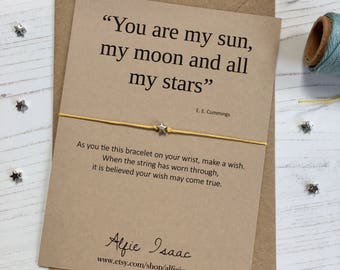 "Wish Bracelet - ""You are my sun, my moon and all my stars"" sentiment card with envelope"