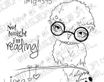 INSTANT DOWNLOAD Big Eye Owl Digital Stamp - Bookworm Image No.395 by Lizzy Love