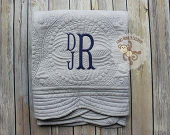 Monogrammed Baby Boy Quilt, Personalized Baby Boy Blanket, Personalized Baby Quilt, Monogrammed Baby Blanket, New Baby, Baby Boy Quilt