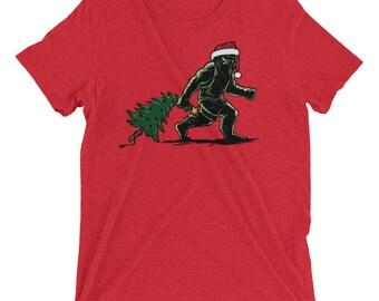 Bigfoot Christmas, Sasquatch, Short Sleeve, T-shirt