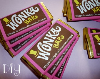 Wonka Bar wrapper template Wonka Bar favor Willy Wonka birthday party Chocolate Factory party printable candy wrapper editable PDF file PiNK