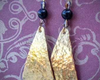 Hammered Brass Earrings / Textured Hammered Brass Triangle Earrings / Brass & Bead Earrings / Brass Jewelry