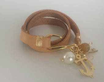 Leather Bracelet with charms