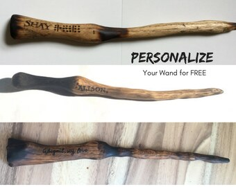 Personalized Wizard Wand, Hand Carved Wood Wand, Harry Potter Inspired Wood Wand, One of a Kind Magical Wand, Free Engraving