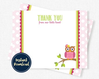 Owl Thank You Card, Pink Owl Birthday Thank You, Blank Thank You, Girl Thank You Printable INSTANT DOWNLOAD