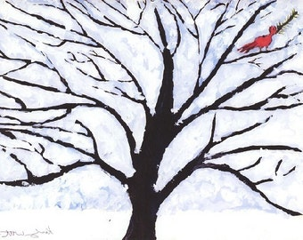 Set of Set of 50 Red BIrd in Tree Holiday Cards  w/envelopes.