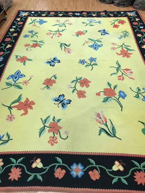 "8'7"" x 11'4"" American Stitch Work Oriental Rug - Yellow - Flat Weave - Hand Made"
