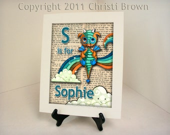 Dragon Nursery Decor Personalized Name Print 8 x 10 inches matted and ready to frame