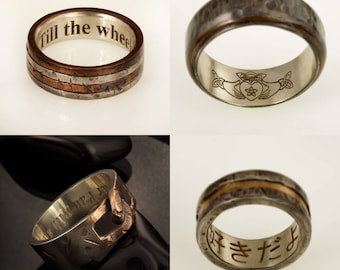 Men's ring engraved - Adding Engraving - dedication engrave - personal dedication - customize jewelry - Engraving sentence / names