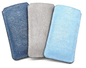 Blue stingray iPhone 6 case leather embossed calf leather protection sleeve cell phone pocket case