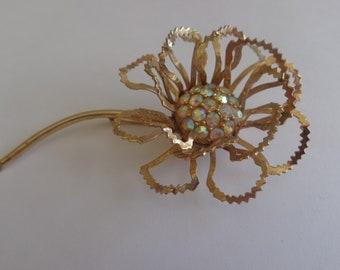 "Sarah Coventry 70's ""Allusion"" Flower Pin/Brooch Aurora Borealis Rhinestones, Sarah Coventry Large Floral Brooch, Statement Brooch Sarah Cov"