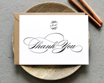 Printable Wedding Folded Thank You Card PDF / 'Traditional Type' Calligraphy Personalized Card / Digital File Only / Printing Also Available