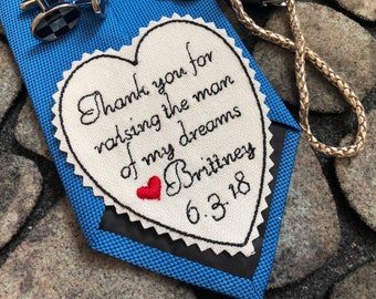 Wedding Tie Patch Father of Groom, Personalized Heart Patch, Thank you for raising man of my dream, Custom Embroidered Patch, iron-on option