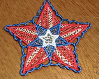 Embroidered Magnet - 4th of July Red, White & Blue Star