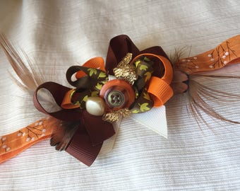 Deluxe Elastic Fall Orange Brown Yellow Headband with Feathers, Ribbon and Vintage Buttons