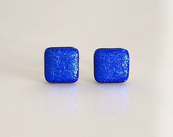 Blue Stud Earrings - Fused Dichroic Glass Earrings - Royal Blue Glass Stud Earrings for Women - Sterling Silver Posts and Scrolls ES 690