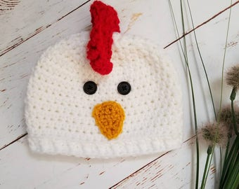 Baby Hat, Chicken Hat, Baby Photo Prop, Photo Prop, Cute Baby Hat, Baby Chick, 0 to 3 Months, Farm Animals, Baby Shower Gift