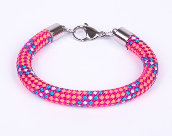 Climbing rope bracelet pink stainless steel magnetic clasp