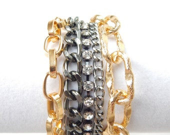 Gold Statement Bracelet chunky chain bracelet gold statement jewelry crystal rhinestone ROYALS